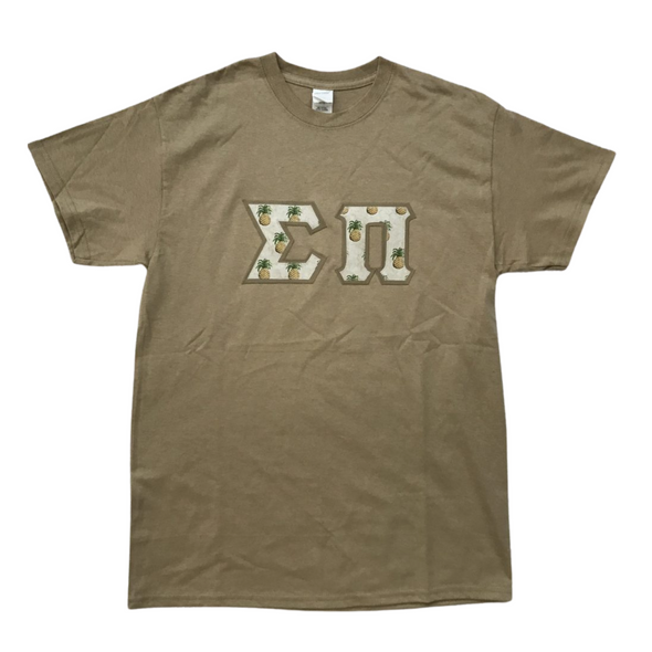Sigma Pi Stitched Letter T-Shirt | Pineapples