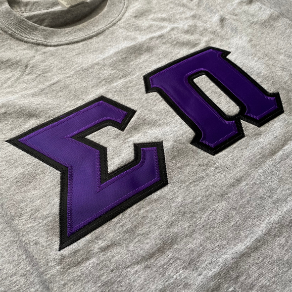 Sigma Pi Stitched Letter T-Shirt | Purple with Black Border