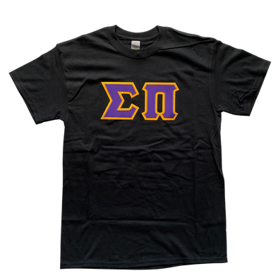 Sigma Pi Stitched Letter T-Shirt | Purple Letters with Gold Border
