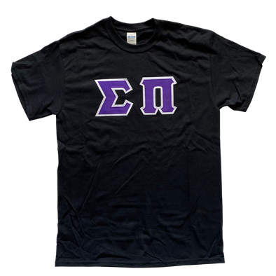 Sigma Pi Stitched Letter T-Shirt | Purple Letters with a White Border