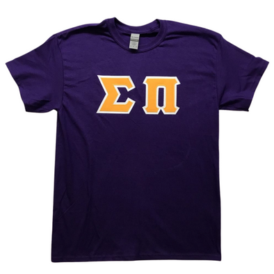 Sigma Pi Stitched Letter T-Shirt | Gold Letters with White Border