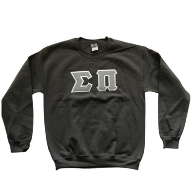 Sigma Pi Stitched Letter Crewneck | Gray Letters with White Border