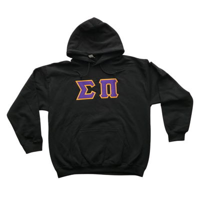 Sigma Pi Stitched Letter Hoodie | Purple with Gold Border