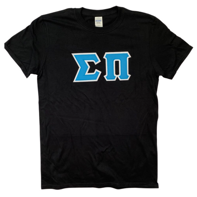 Sigma Pi Stitched Letters | Cyan with White Border