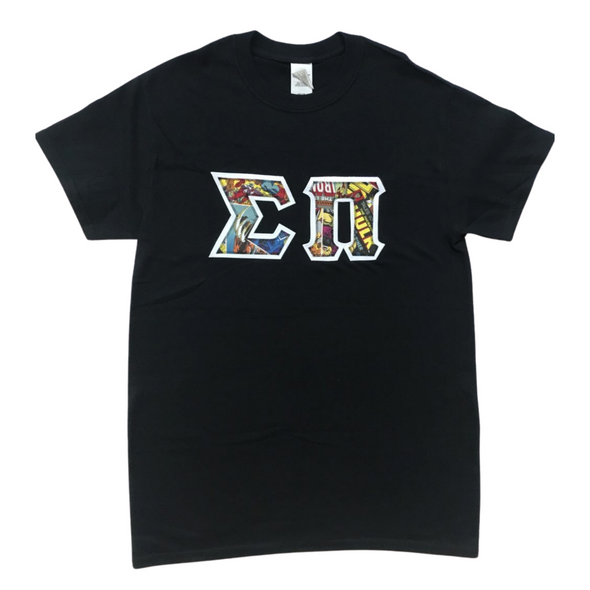 Sigma Pi Stitched Letter T-Shirt | Marvel Heroes Pattern