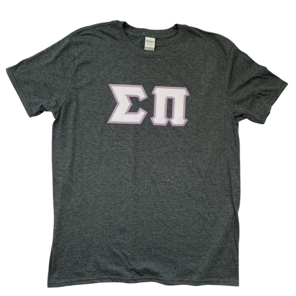 Sigma Pi Stitched Letters | White with Lilac Border