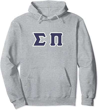 Sigma Pi Printed Letter Hoodie | Purple with White Border