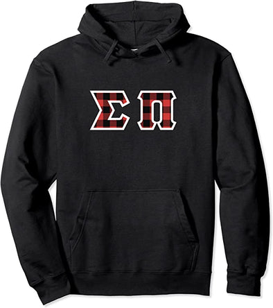 Sigma Pi Printed Letter Hoodie | Red Plaid