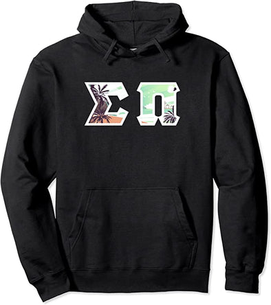 Sigma Pi Printed Letter Hoodie | Tropical Pattern