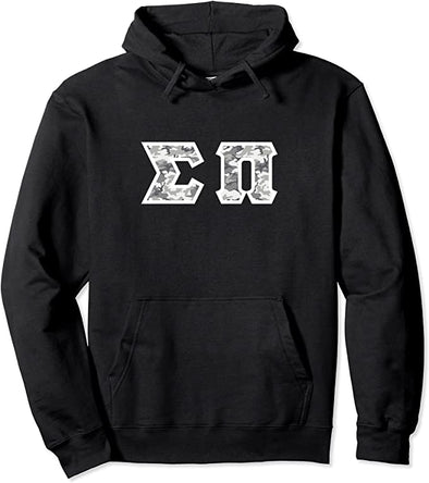Sigma Pi Printed Letter Hoodie | Winter Camo
