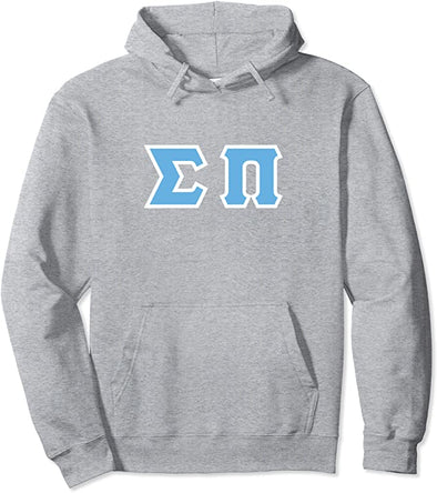 Sigma Pi Printed Letter Hoodie | Cyan with White Border