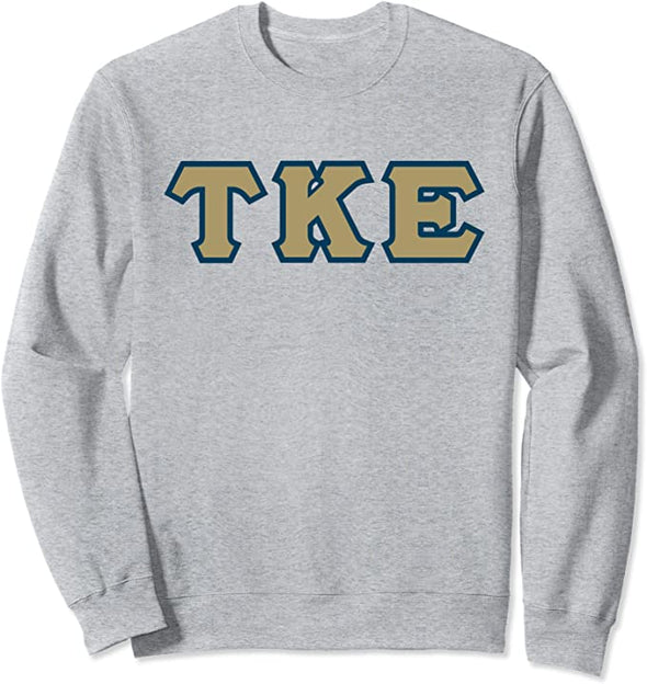 Tau Kappa Epsilon Printed Letter Crewneck | Gold with Navy Border