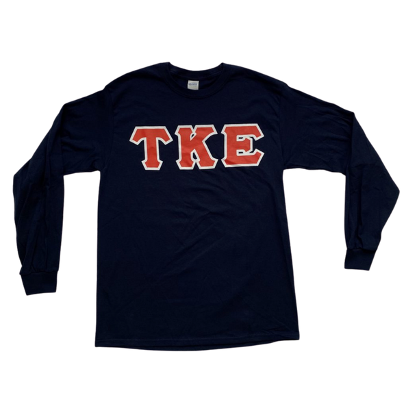 Tau Kappa Epsilon Printed Letter Long Sleeve | Navy | Red with White Border