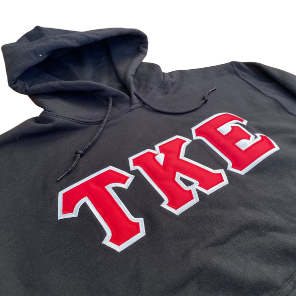 Tau Kappa Epsilon Stitched Letter Hoodie | Black | Red with White Border