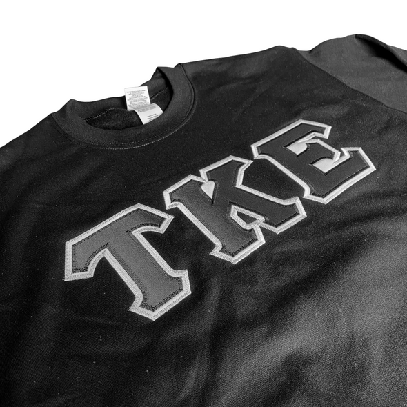 Tau Kappa Epsilon Stitched Letter Crewneck | Black | Black with White Border