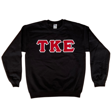 Tau Kappa Epsilon Stitched Letter Crewneck | Black | Red with White Border