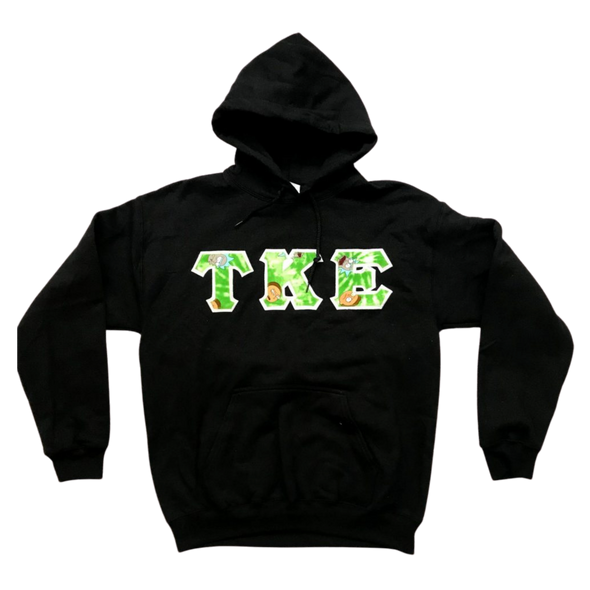Tau Kappa Epsilon Stitched Letter Hoodie | Rick and Morty with White Border