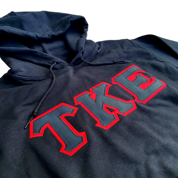 Tau Kappa Epsilon Stitched Letter Hoodie | Black | Black with Red Border