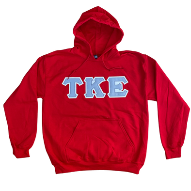 Tau Kappa Epsilon Stitched Letter Hoodie | Red | Gray with White Border