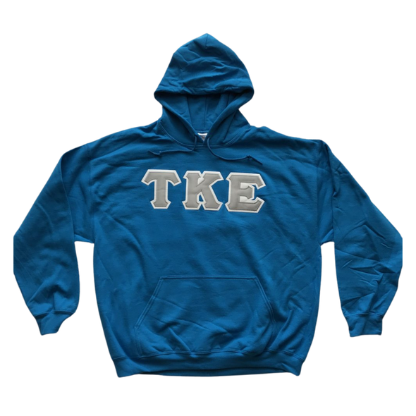 Tau Kappa Epsilon Stitched Letter Hoodie | Sapphire | Gray with White Border