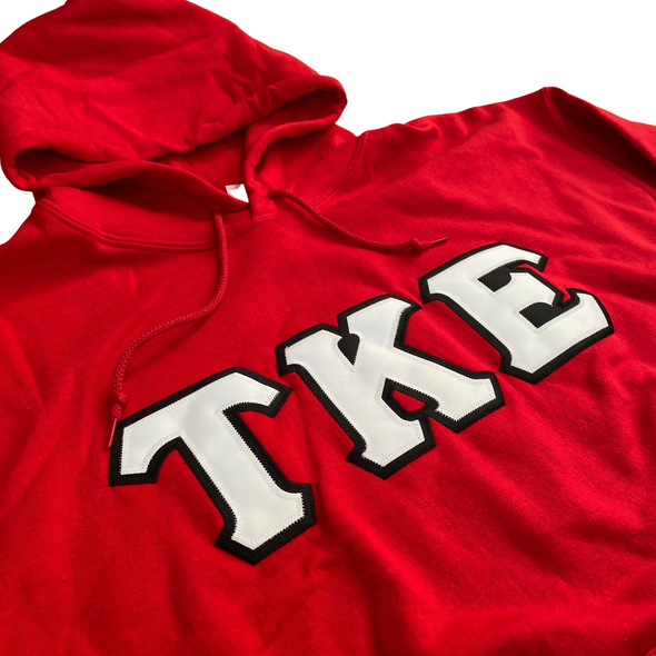 Tau Kappa Epsilon Stitched Letter Hoodie | Red | White with Black Border