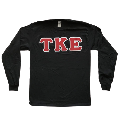 Tau Kappa Epsilon Stitched Letter Long Sleeve | Black | Red with White Border