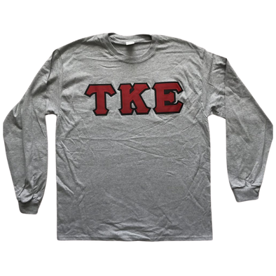 Tau Kappa Epsilon Stitched Letter Long Sleeve | Sport Grey | Red with Black Border