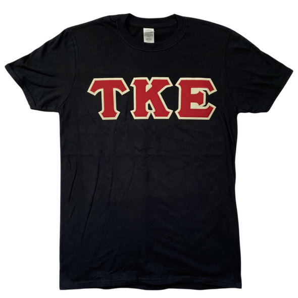 Tau Kappa Epsilon Stitched Letter T-Shirt | Black | Burgundy with Cream Border
