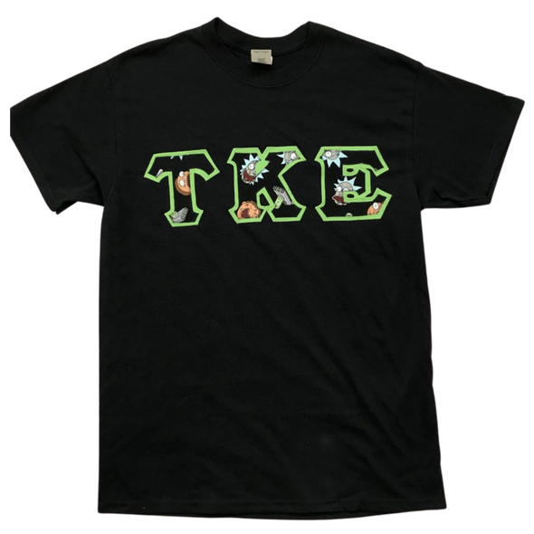 Tau Kappa Epsilon Stitched Letter T-Shirt | Black, Neon Green, Rick and Morty