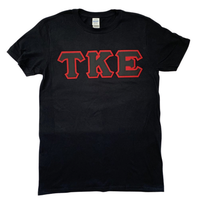 Tau Kappa Epsilon Stitched Letter T-Shirt | Black | Black with Red Border