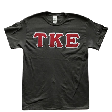 Tau Kappa Epsilon Stitched Letter T-Shirt | Charcoal | Red with White Border
