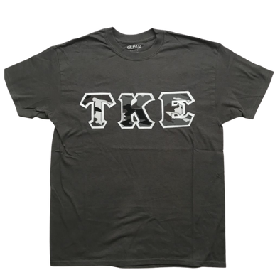 Tau Kappa Epsilon Stitched Letter T-Shirt | Winter Camo with White Border