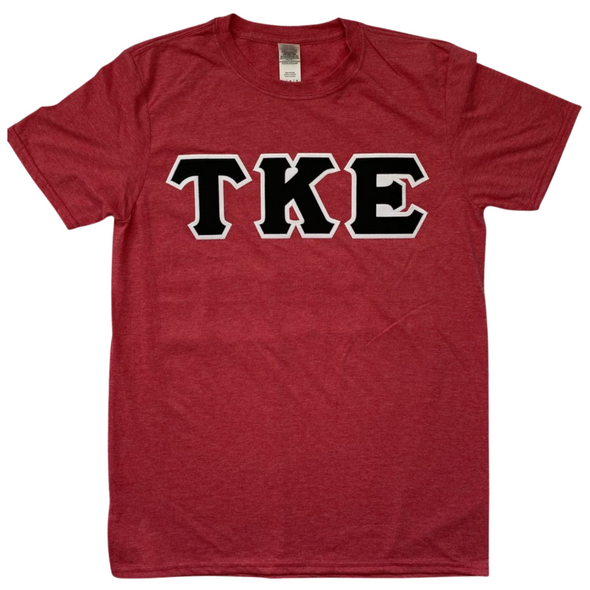 Tau Kappa Epsilon Stitched Letter T-Shirt | Heather Red | Black with White Border