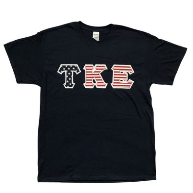 Tau Kappa Epsilon Stitched Letter T-Shirt | USA Flag with White Border
