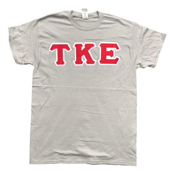 Tau Kappa Epsilon Stitched Letter T-Shirt | Gravel | Red with White Border