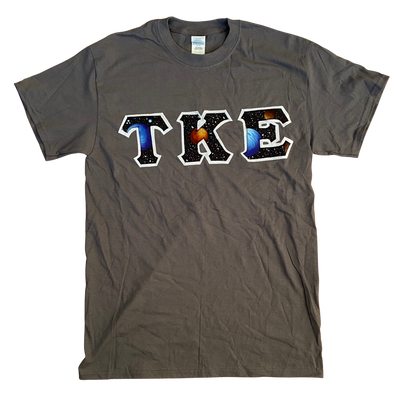 Tau Kappa Epsilon Stitched Letter T-Shirt | Charcoal | Space One
