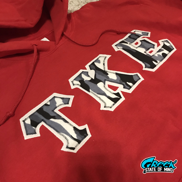 Tau Kappa Epsilon Stitched Letter Hoodie | Red | Winter Camo with White Border