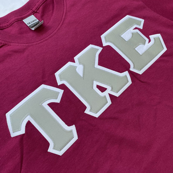 Tau Kappa Epsilon Stitched Letter T-Shirt | Plum | Gray with White Border