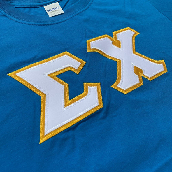 Sigma Chi Stitched Letter T-Shirt | Sapphire | White with Gold Border