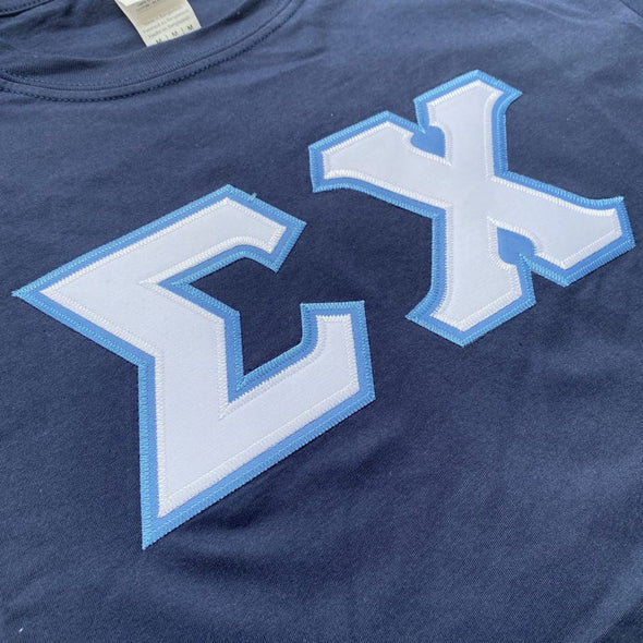 Sigma Chi Stitched Letter T-Shirt | Navy | White with Columbia Blue Border