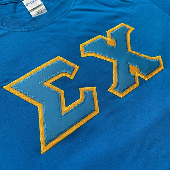 Sigma Chi Stitched Letter T-Shirt | Sapphire | Cyan with Gold Border