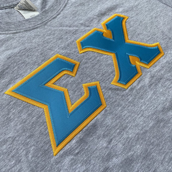 Sigma Chi Stitched Letter T-Shirt | Sport Grey | Cyan with Gold Border