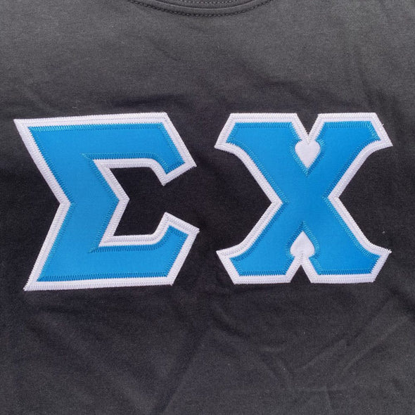 Sigma Chi Stitched Letter T-Shirt | Black | Cyan with White Border