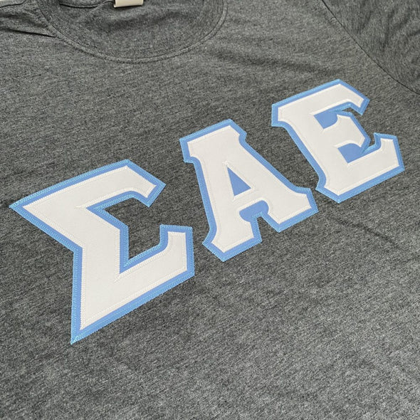 Sigma Alpha Epsilon Stitched Letter T-Shirt | Dark Heather | White with Columbia Blue Border