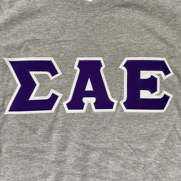 Sigma Alpha Epsilon Stitched Letter T-Shirt | Sport Grey | Purple with White Border