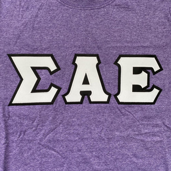 Sigma Alpha Epsilon Stitched Letter T-Shirt | Heather Purple | White with Black Border