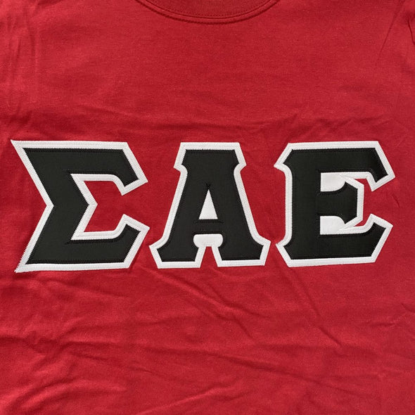 Sigma Alpha Epsilon Stitched Letter T-Shirt | Cardinal Red | Black with White Border