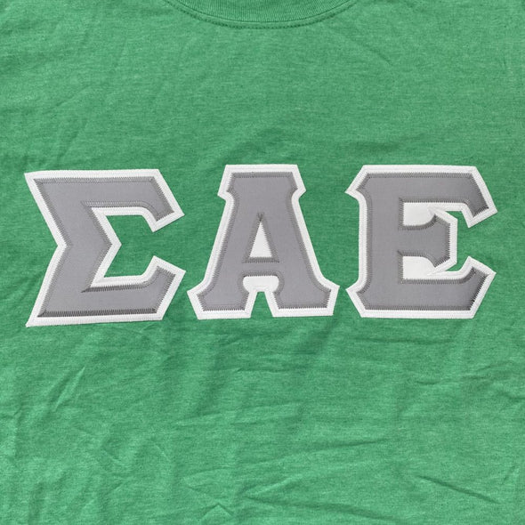 Sigma Alpha Epsilon Stitched Letter T-Shirt | Heather Irish Green | Gray with White Border