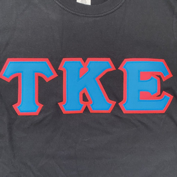 Tau Kappa Epsilon Stitched Letter T-Shirt | Black | Cyan with Pink Border