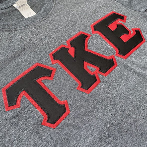 Tau Kappa Epsilon Stitched Letter T-Shirt | Dark Heather | Black with Red Border